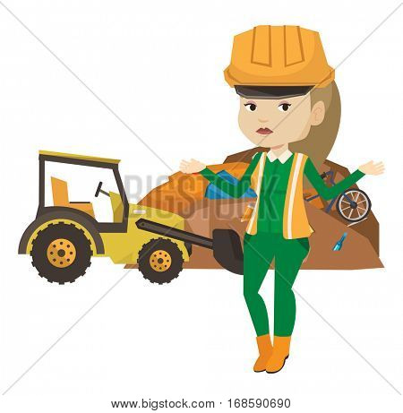 Young caucasian worker of rubbish dump standing with spread arms. Sad woman standing on the background of rubbish dump and bulldozer. Vector flat design illustration isolated on white background.