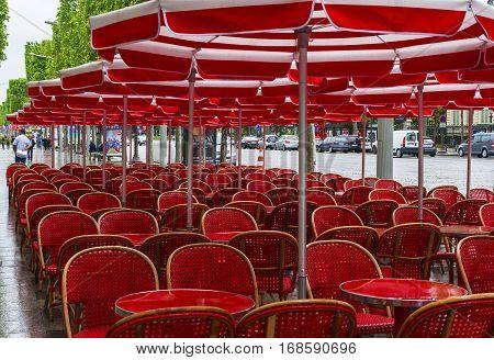 Paris, France - June 2016:  Empty open café at Champs Elysees