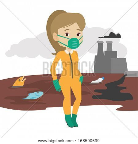 Young woman in radiation protective suit standing on the background of nuclear power plant. Scientist wearing radiation protection suit. Vector flat design illustration isolated on white background.