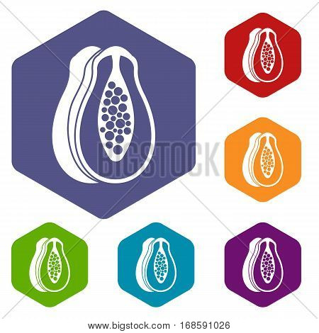 Papaya icons set rhombus in different colors isolated on white background