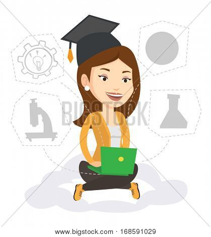 Graduate sitting on cloud with laptop. Graduate using cloud computing technologies. Concept of educational technology and cloud computing. Vector flat design illustration isolated on white background.