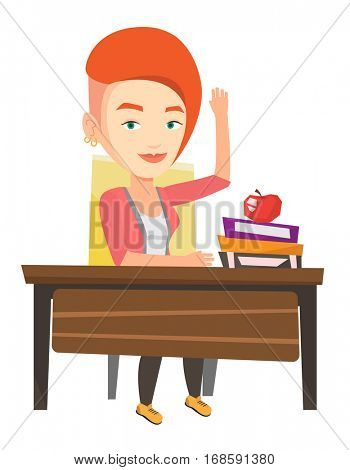 Student raising hand in the classroom for an answer. Student sitting at the desk with raised hand. Clever pupil raising hand at lesson. Vector flat design illustration isolated on white background.