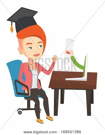 Graduate getting diploma from the computer. Student in graduation cap working on a computer. Educational technology and graduation concept. Vector flat design illustration isolated on white background