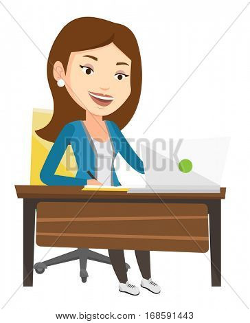 Caucasian student sitting at the table with laptop and writing notes. Student using laptop for education. Educational technology concept. Vector flat design illustration isolated on white background.