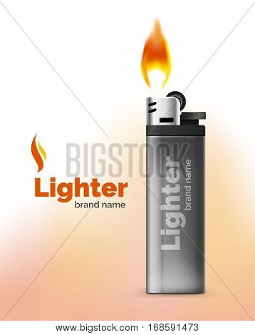 Vector lighter ad template with orange flame, blank branding packaging mockup for design