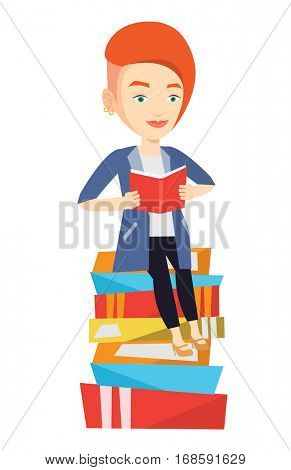 Young caucasian student sitting on huge pile of books. Student reading book. Smiling woman sitting on stack of books with book in hands. Vector flat design illustration isolated on white background.