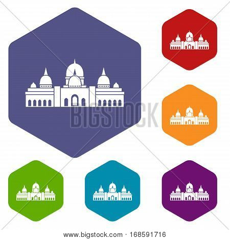 Sheikh Zayed Grand Mosque, UAE icons set rhombus in different colors isolated on white background
