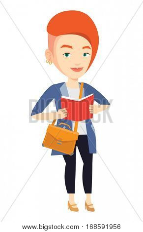 Smiling student reading a book. Cheerful female student reading a book and preparing for exam. Happy student standing with book in hands. Vector flat design illustration isolated on white background.