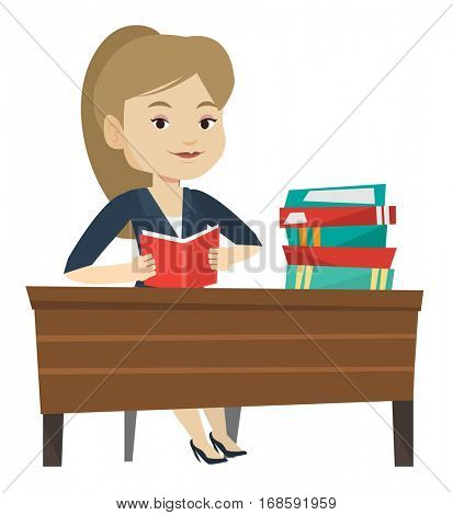 Student sitting at the table and holding a book in hands. Smiling student reading a book. Student reading a book and preparing for exam. Vector flat design illustration isolated on white background.