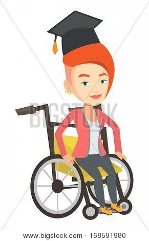 Cheerful graduate using wheelchair. Caucasian student sitting in wheelchair. Disabled graduate in graduation cap sitting in wheelchair. Vector flat design illustration isolated on white background.