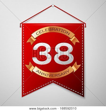 Red pennant with inscription Thirty eight Years Anniversary Celebration Design over a grey background. Golden ribbon. Colorful template elements for your birthday party. Vector illustration