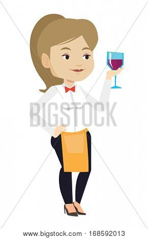 Bartender holding a glass of wine in hand. Bartender at work. Waitress looking at glass of red wine. Bartender examining wine in glass. Vector flat design illustration isolated on white background.