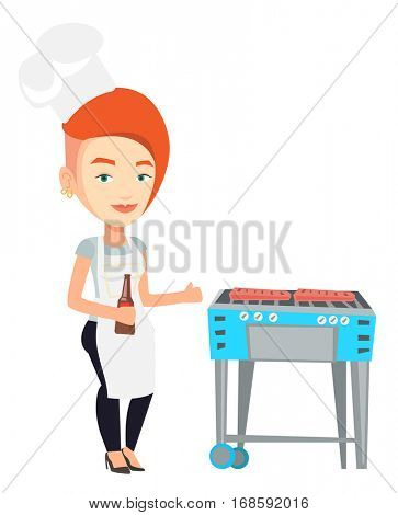 Young woman with bottle in hand cooking steak on gas barbecue grill and giving thumb up. Woman cooking steak on the barbecue grill outdoor. Vector flat design illustration isolated on white background