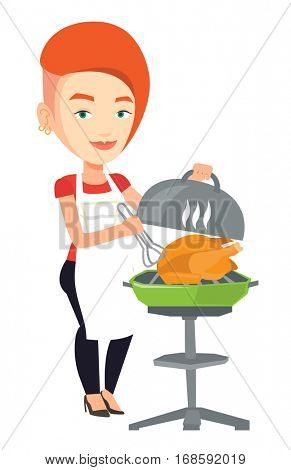 Caucasian woman cooking chicken on barbecue grill outdoors. Young woman having a barbecue party. Woman preparing chicken on barbecue grill. Vector flat design illustration isolated on white background