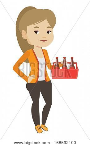 Young happy woman holding pack of beer. Full length of cheerful woman carrying a six pack of beer. Caucasian smiling woman buying beer. Vector flat design illustration isolated on white background.