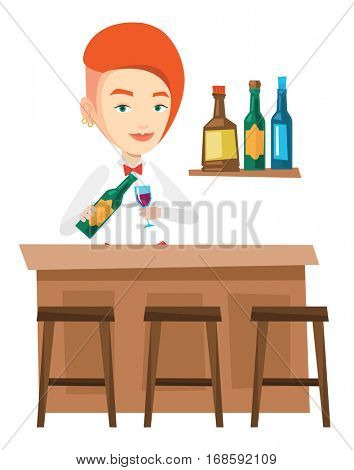 Young bartender standing at the bar counter. Bartender with bottle and glass in hands. Bartender pouring wine in a glass. Vector flat design illustration isolated on white background.