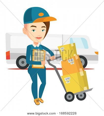 Caucasian delivery courier with cardboard boxes on trolley. Delivery courier holding clipboard. Courier standing in front of delivery van. Vector flat design illustration isolated on white background.