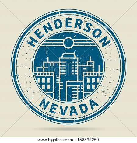 Grunge rubber stamp or label with text Henderson Nevada written inside vector illustration