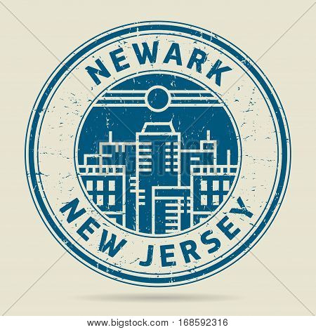 Grunge rubber stamp or label with text Newark New Jersey written inside vector illustration