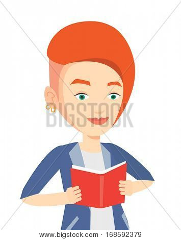 Smiling caucasian student reading a book. Cheerful female student reading a book and preparing for exam. Student holding a book in hands. Vector flat design illustration isolated on white background.