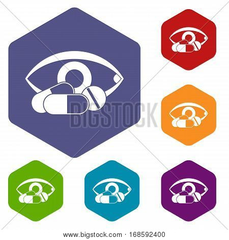 Treatment of the eye icons set rhombus in different colors isolated on white background