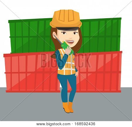 Caucasian port worker talking on wireless radio. Port worker standing on cargo containers background. Port worker using wireless radio. Vector flat design illustration isolated on white background.