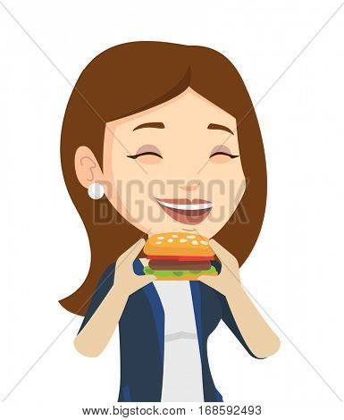 Caucasian joyful woman eating hamburger. Happy woman with eyes closed biting hamburger. Smiling woman is about to eat delicious hamburger. Vector flat design illustration isolated on white background.