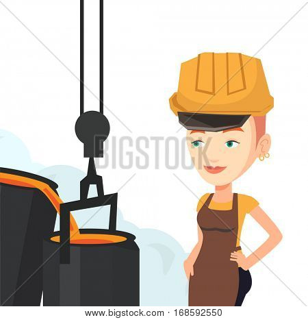 Caucasian steelworker at work in the foundry. Steelworker controlling iron smelting in foundry. Industrial worker in steel making plant. Vector flat design illustration isolated on white background.