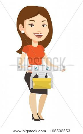 Woman controlling delivery drone with post package. Woman getting parcel from delivery drone. Woman sending parcel with delivery drone. Vector flat design illustration isolated on white background.