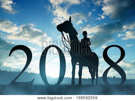 Silhouette of a woman on a horse at sunset. Forward to the New Year 2018.