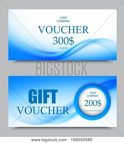 Gift company voucher template on three and two hundred dollars with circle and light blue wavy soft pattern. Vector illustration