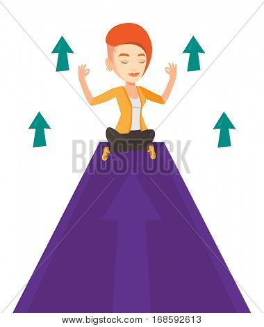 Business woman doing yoga on a mountain with arrow going up. Business woman meditating in yoga lotus pose. Man sitting in yoga lotus pose. Vector flat design illustration isolated on white background.