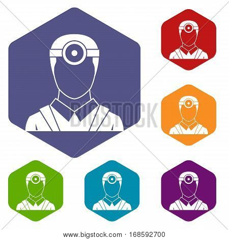 Ophthalmologist with head mirror icons set rhombus in different colors isolated on white background