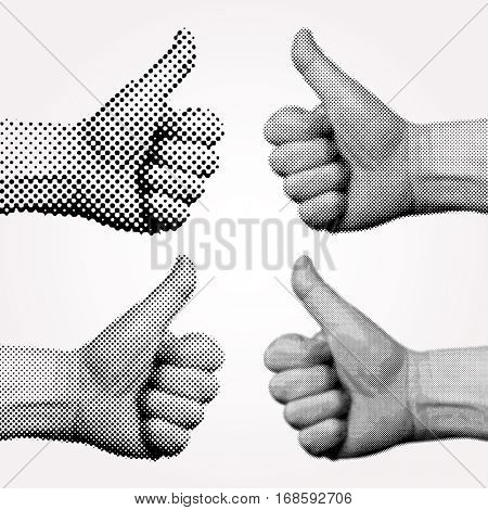 vector dotted halftone like sign with thumb up