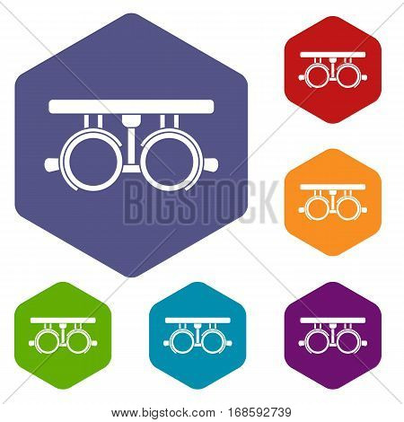 Trial frame for checking patient vision icons set rhombus in different colors isolated on white background