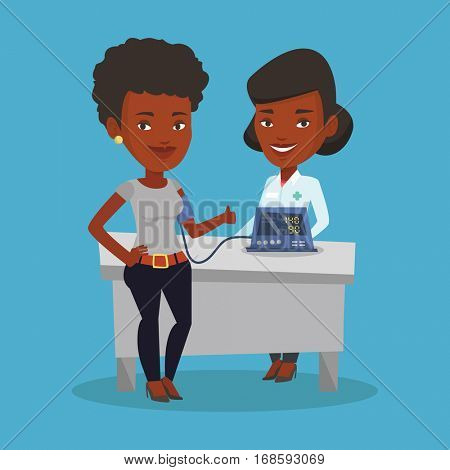 Young african woman checking blood pressure with digital blood pressure meter. Happy woman giving thumb up while doctor measuring her blood pressure. Vector flat design illustration. Square layout