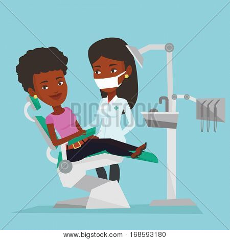 Young african woman sitting in dental chair while dentist standing nearby. Doctor and patient in the dental clinic. Patient on reception at the dentist. Vector flat design illustration. Square layout.