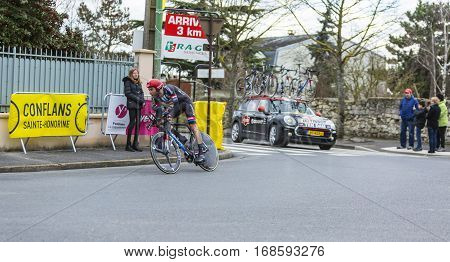 Conflans-Sainte-HonorineFrance-March 62016: Image of the Dutch cyclist Laurens ten Dam of Giant-Alpecin Team riding during the prologue stage of Paris-Nice 2016.