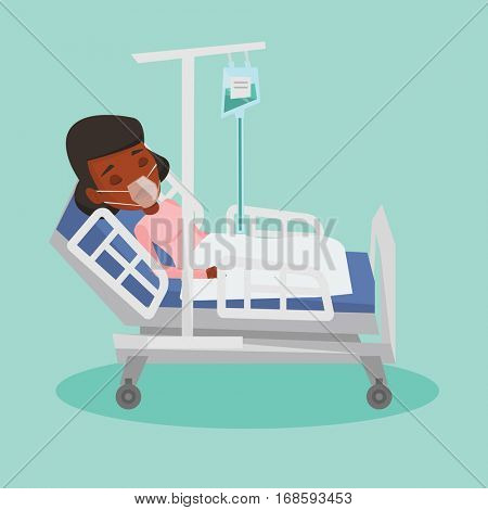African-american woman lying in hospital bed with oxygen mask. Woman during medical procedure with drop counter. Patient recovering in bed in hospital. Vector flat design illustration. Square layout.
