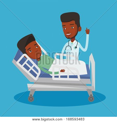 African-american doctor visiting patient. Doctor pointing finger up during visiting of patient. Young man lying in hospital bed while doctor visits him. Vector flat design illustration. Square layout.