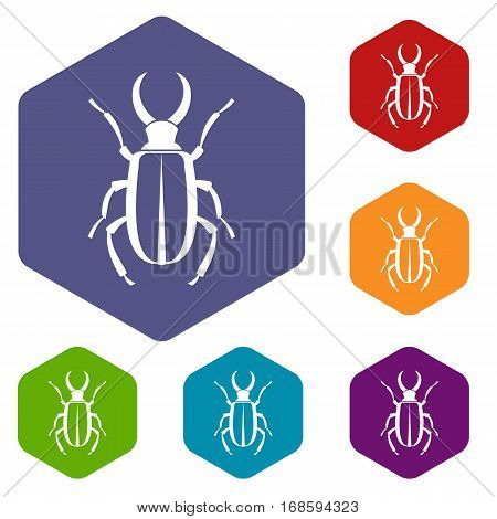 Lucanus cervus icons set rhombus in different colors isolated on white background