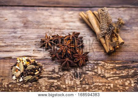 Different kinds of flavoring on the wooden table