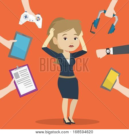 Woman clutching head and many hands with modern gadgets around her. Young woman in despair surrounded with gadgets. Woman using many electronic gadgets. Vector flat design illustration. Square layout.