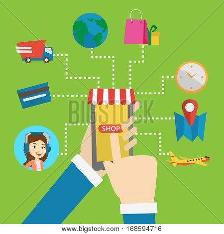 Human hands holding smartphone connected with shopping icons. Concept of online shopping, online store, e-commerce, mobile shopping, buying on internet. Vector flat design illustration. Square layout.