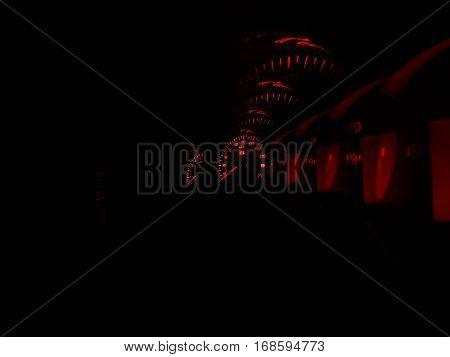 Inside sport car red speedometer in motion backdrop hd