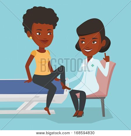 African-american gym doctor checking ankle of a patient. Physio therapist examining leg of sports woman. Physio therapist giving leg massage to patient. Vector flat design illustration. Square layout.