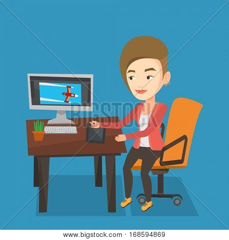 Caucasian woman sitting at desk and drawing on graphics tablet. Young graphic designer using a digital graphics tablet, computer and pen. Vector flat design illustration. Square layout.