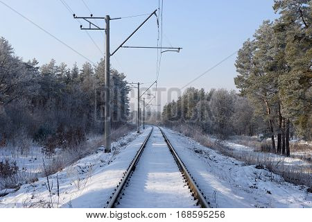 Snowy railway runs in the winter forest
