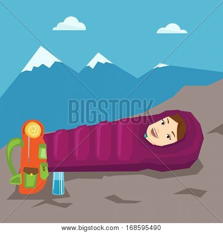 Young cheerful caucasian woman wrapped up in a mummy sleeping bag. Happy smiling woman relaxing in a sleeping bag while camping in the mountains. Vector flat design illustration. Square layout.