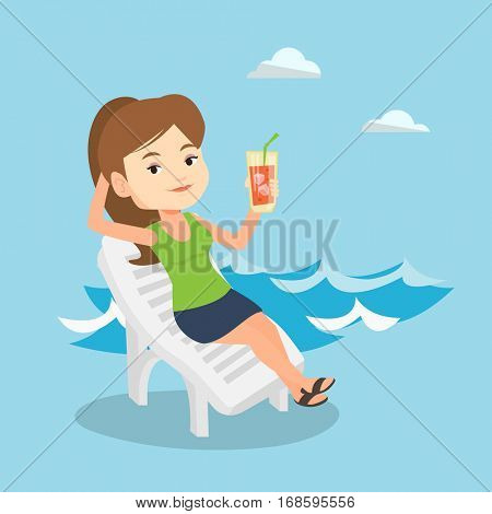 Young caucasian woman sitting on a beach chair. Happy smiling woman drinking a cocktail on a beach chair. Joyful woman on a beach chair with cocktail. Vector flat design illustration. Square layout.